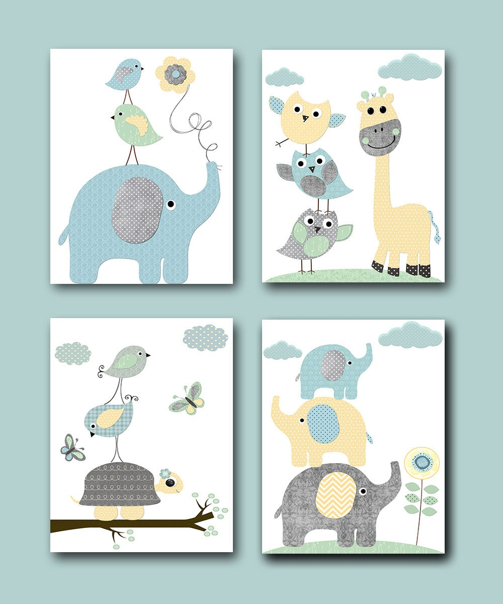 Nursery Art For Children Kids Wall Art Baby Girl Nursery Baby: Gray Blue Yellow Mint Baby Boy Nursery Prints Kids Art For