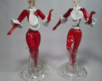 """Murano Glass Dancers Red and White 10"""" x 5"""""""