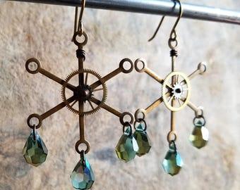 Steampunk Chandelier Earrings in Raw Brass, Czech Crystal Briolettes + Old Watch Parts