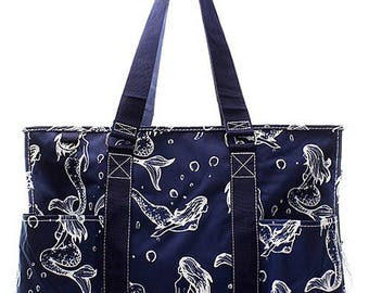 Mermaid Print Large Size Utility Tote Bag Navy Blue and White