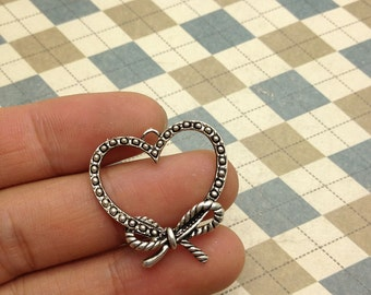 20pcs Antique Silver Heart Frame Charms 29mmx30mm
