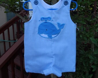 Boy's Jon Jon Romper with Happy Whale Sizes 6 mo. Handmade Snaps in crotch