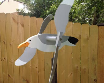 Seagull whirligig wooden hand made whirlygig wood yard art spinning garden decoration  wood spinner bird whirligig seagull spinner
