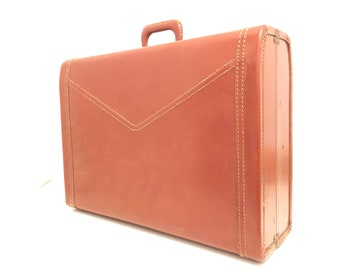 The Vintage R. Z. Suitcase.Chevron.Mid Century.Large.Stitching.Travel.Prop.Antique.Vintage.Retro.Travel Piece.Luggage