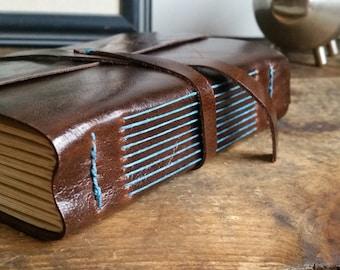 Handmade Leather Journal, Dark Brown Hand-Bound 4.75 x 6 Journal by The Orange Windmill on Etsy 1797