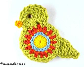 Bird Crochet Applique  free choice of colour