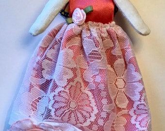 Cotton-candy Pink Barefoot Fairy doll---art doll---cloth doll---fabric doll