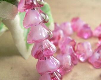 Crystal Pink Czech Glass Baby Bell Flower Beads White Rose Raspberry 6x8mm  (25)