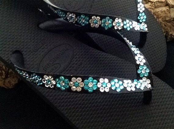 Personalized Flower Flip Flops Jewel Daisy w/ +80 Swarovski Crystal Bride Slip ons Beach Wedding Bridesmaid flat or wedge heel sandals Shoes