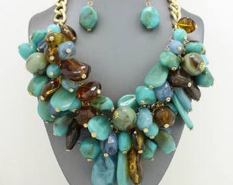Turquoise and Brown Chunky Beaded Bib Necklace