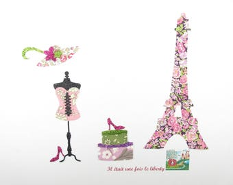 Applied fusing Eiffel Tower Chive Capel Eloise purple pink liberty Mitsi Parma and flex sequined appliques liberty iron on