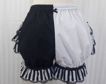 Jester clown harlequin fancy ruffle short bloomers adult women