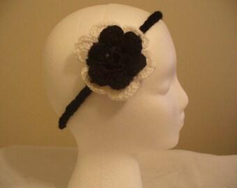 Women Crochet Headband With Ruffle Flower - Style 2