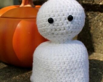 Mini Crocheted Ghost Amigurmi Plush, Halloween Plush