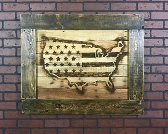 United States Country Flag Reclaimed Pallet Wood Burnt Sign