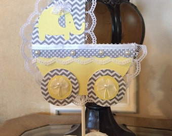 Yellow and grey elephant baby shower cake topper/Carriage cake topper, Elephant themed.