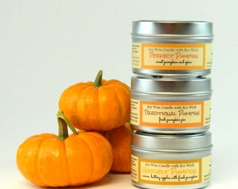 Pumpkin Scented Soy Candle Tin or Mason Jar Candle Home Decor /  Pumpkin Candles Holiday Spice