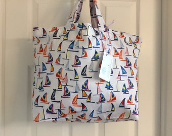 Sailboats print - Reusable Grocery / Shopping Bag