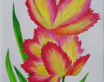 Original watercolor, Fire leaves