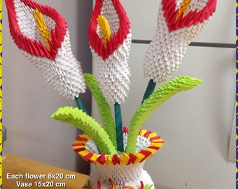 Origami etsy ca 3d origami lily vase lily origami flower paper decoration mightylinksfo