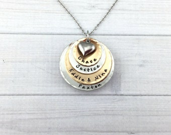 FREE SHIPPING * Four Layer • Mixed Metal • Bronze & Pewter • Mommy Name Necklace • Hand Stamped • Personalized