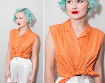 1950's Orange Cotton Sleeveless Blouse | Size Large