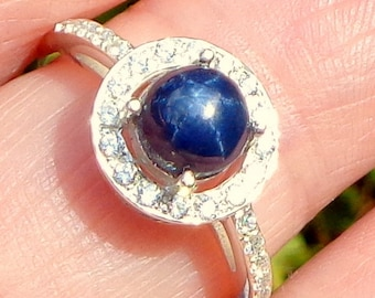 Size 7, Blue Star Sapphire, Sterling Silver Ring, Natural Sapphire, CZ Halo, Natural Gemstone, Promise Ring, Something Blue, OOAK