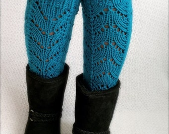 Knit Leg warmers women's, Boot cuffs, turquoise leg warmers, long leg warmers, teal leg warmers.