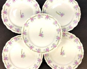 """Set of 5 Antique Elite Works Limoges France flower bread and butter plates 6.4"""""""