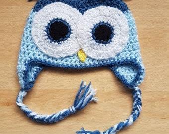 Crochet baby boys blue owl hat