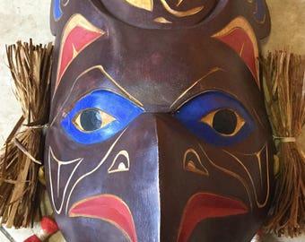 Native Pacific Northwest Coast Salish Carved Night Hawk and Moon Mask