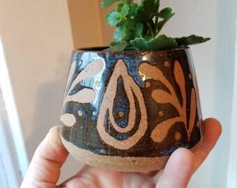 Blue on Red Stoneware Art Deco Air Plant Succulent Planter Housewarming Gift