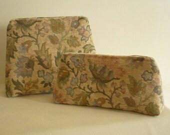 Floral pastel velvet chenille gusseted pouches duo