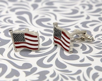 ON SALE American Flag Cufflinks Red White Blue Patriotism Usa