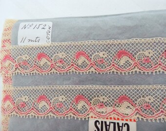 Fine ecru cotton French Valenciennes lace / pink 5 meters Old cotton VINTAGE lace
