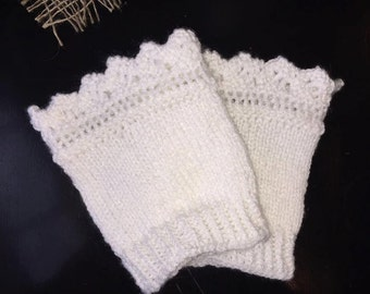 Lacy hand knitted knit boot cuffs