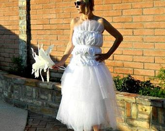 Fairy Wedding Dress-Wedding Dress-Alternative Wedding Dress-Bridal Separates-Giselle Lace Tissue Linen Ruffled & Layered Tulle Bride Chic