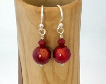 Bamboo Coral Earrings, Sterling Silver Hook Drop Earrings with Bamboo Coral Gemstones and Swarovski Crystals