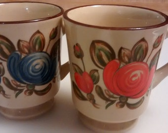 Set of two Vintage coffee mugs 1970 Japanese style hand painted stoneware with floral design
