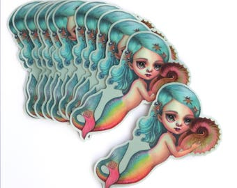 Little Mermaid - vinyl silkscreen sticker - by Mab Graves -