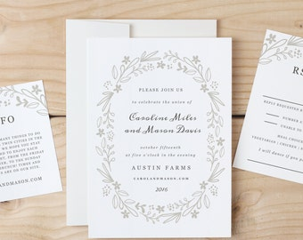 Printable Invitation Template | INSTANT DOWNLOAD | Floral Wreath | Word or Pages | Easy DIY | Editable Artwork Colors