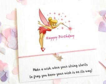 Friends Birthday Tinkerbell Fairy String Bracelet love card - Wish Card with Hearts charm friendship bracelet Y112