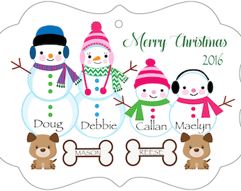 Snowman Personalized Family Ornament with pets, double sided