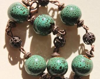 Green Bracelet Ceramic Bracelet Beaded bracelet Boho Bracelet Boho jewelry Boho chic Bracelet Gift for women Gift for her Gift