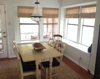 Faux (fake) flat roman shade valance.  Perfect solution!  Your choice of fabric (up to 10 dollars/yd) included! Custom Sizing. Burlap.