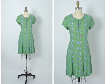 Vintage 1960s 60s Floral Day Dress Pink and Green