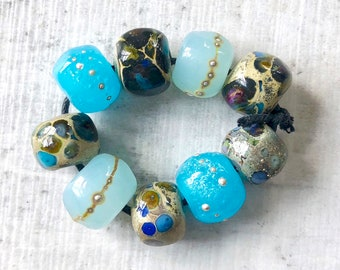 Handmade Lampwork  Beads by GlassBeadArt …   Blue Silver Rocks Mix ... SRA F12 ... 10x12mm
