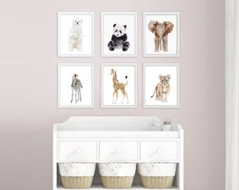 Baby Animal Nursery Prints - Minimalist Nursery Decor - Zoo Animals - Childrens Art - Set of 6 - Modern Nursery Prints - Zoo Animal Nursery