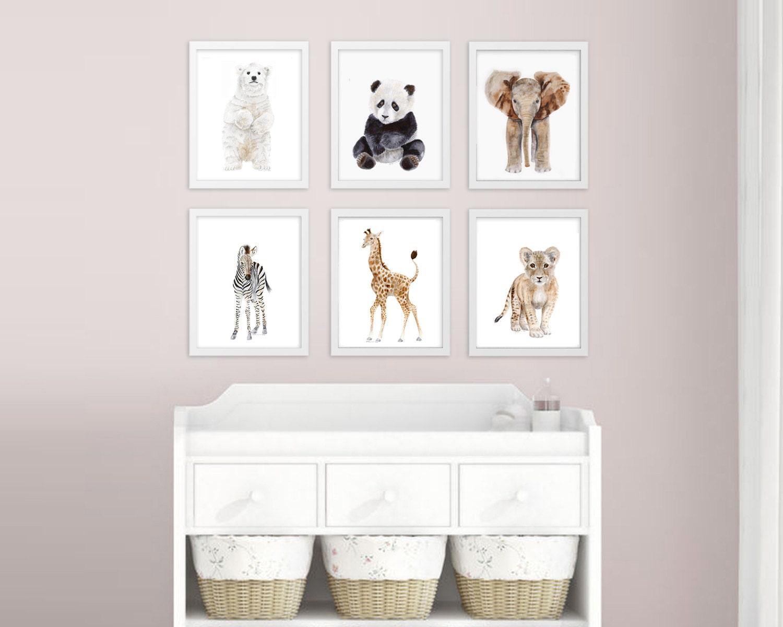 Baby Animal Nursery Prints Minimalist Nursery Decor Zoo
