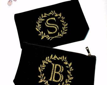 Monogram Christmas Gift Personalized Wedding Makeup bag - Wedding favors  -  cosmetic bag- zipper pouches - Birthday gift- makeup bag - Can